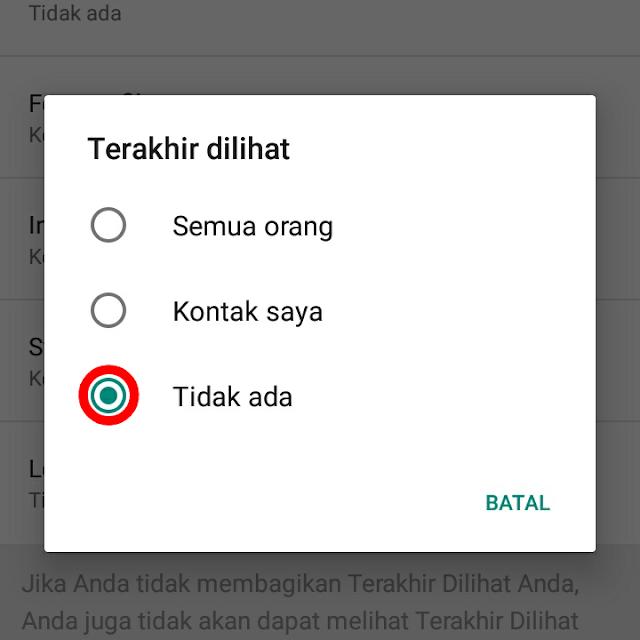 cara menonaktifkan riwayat online di profil whatsapp