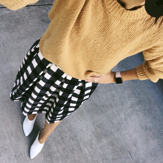 Plaid Skirt and White Boots