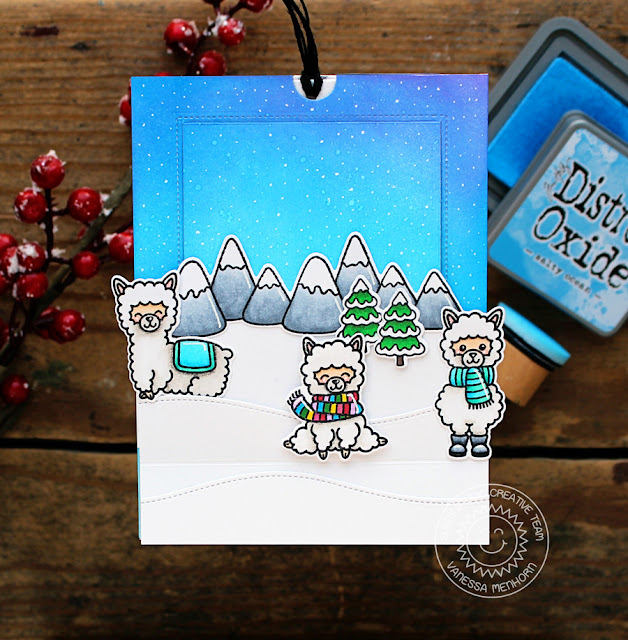 Sunny Studio Stamps: Alpaca Holiday  Woodland Borders Sliding Window Winter Themed Slider Card by Vanessa Menhorn