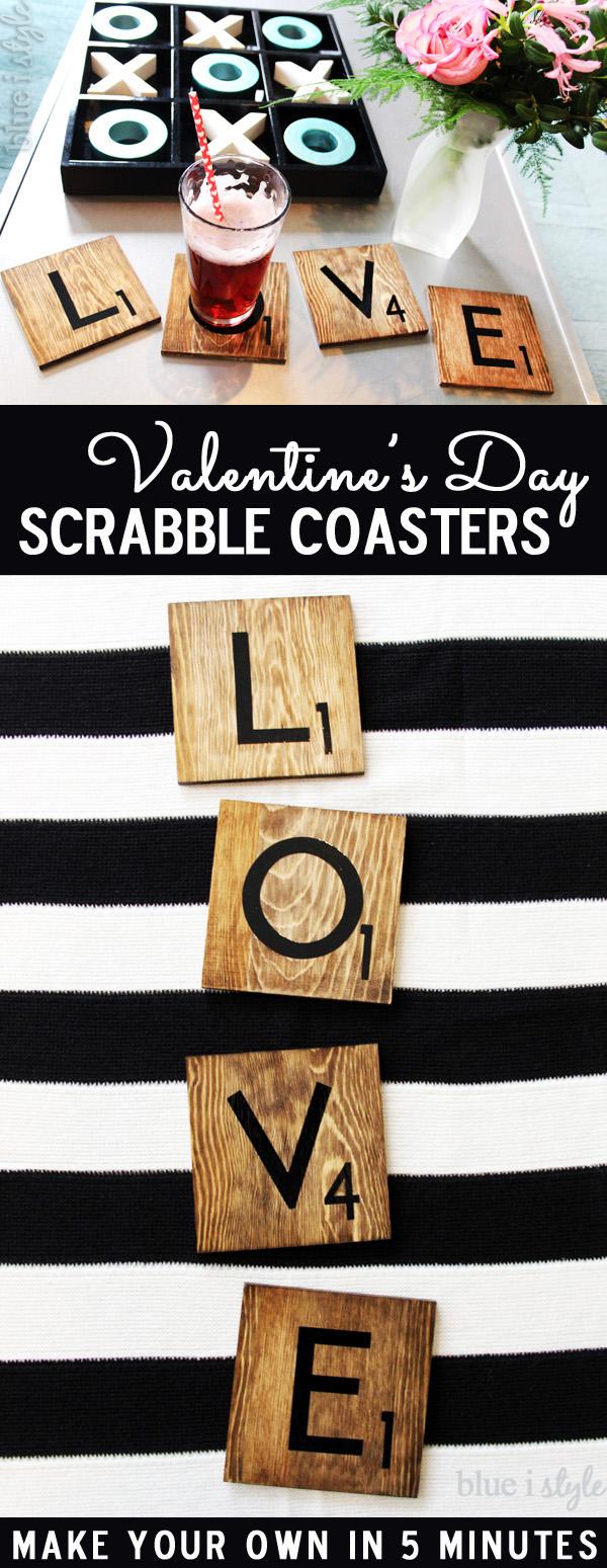 LOVE Valentine's Day Scrabble Tile Coasters