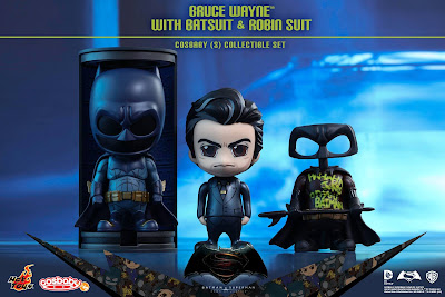 Batman v Superman: Dawn of Justice Bruce Wayne with Batman Suit & Defaced Robin Suit Cosbaby Box Set by Hot Toys