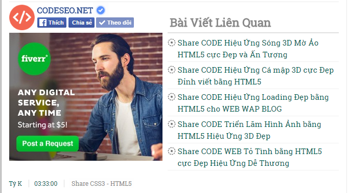 Share CODE Chèn Plugin FaceBook (Like Share Follow) Đẹp Dễ Nhìn cho Blogspot
