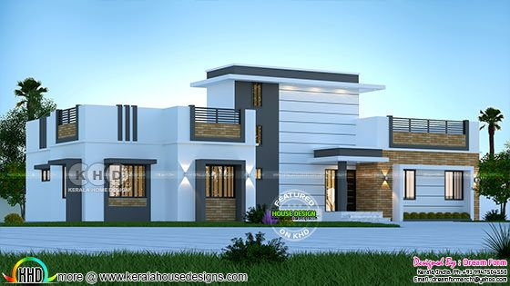 4 BHK house front view rendering 2205 square feet