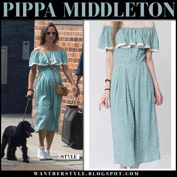 Pippa Middleton in mint off shoulder midi dress baby bump royal family fashion august 12