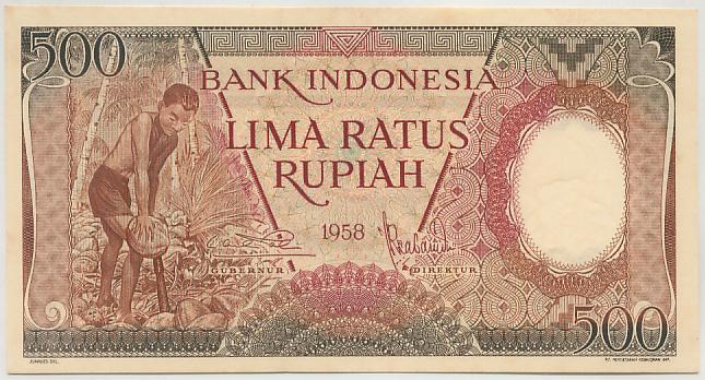 500 rupiah 1959 depan
