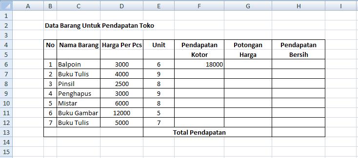 Membuat Tabel Di Excel Dengan Menggunakan Rumus