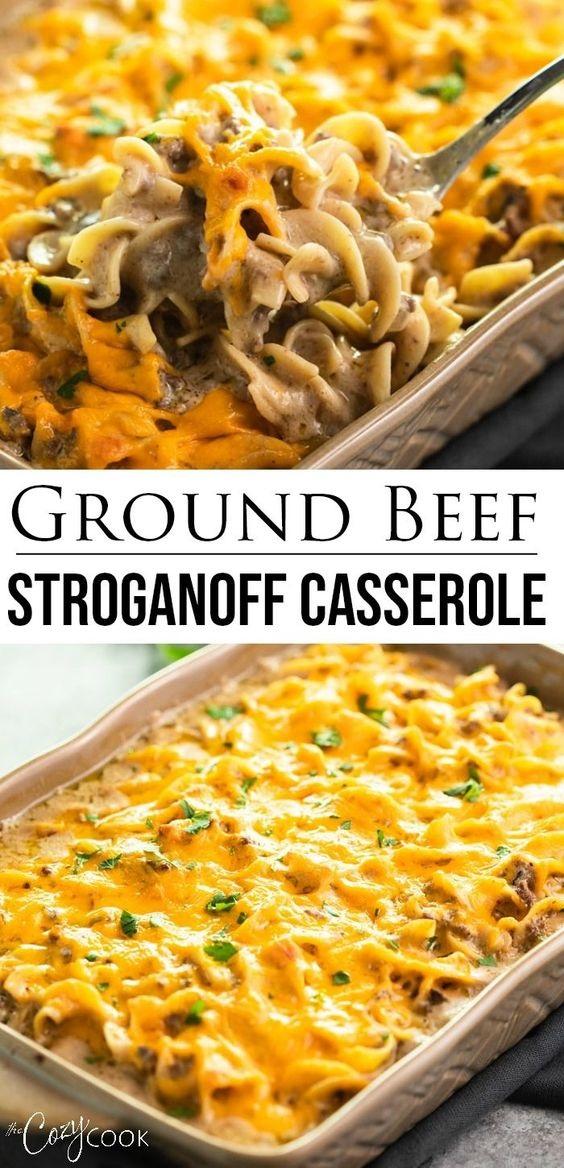 Ground Beef Stroganoff Casserole