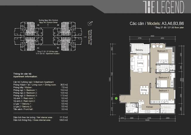 Mặt bằng căn hộ A3 A6 B3 B6 - 109m - The Legend