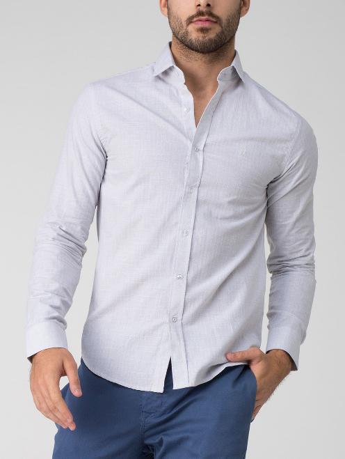 Camisa social masculina starts cinza com modelagem justa. Esta camisa é  perfeita para momentos mais formais. 6dbca4c32b6