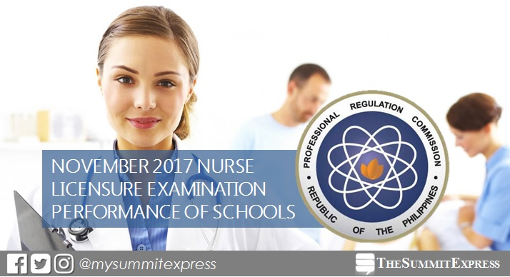 PERFORMANCE OF SCHOOLS: November 2017 nursing board exam NLE