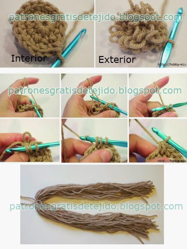 Como tejer gorro peluca de muñeca para bebe