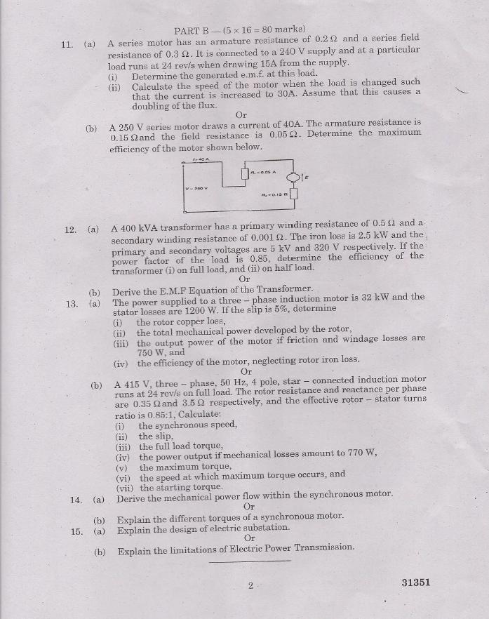EC2201 Electrical Engineering Nov Dec 2013 Question Paper
