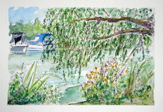 St Neots Riverside ink and watercolour plein air