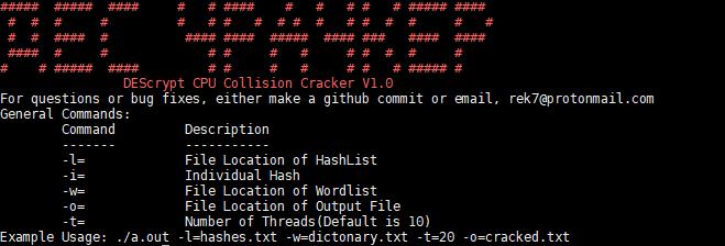 DEScrypt-CPU-Collision-Cracker - DEScrypt CPU Collision Cracker