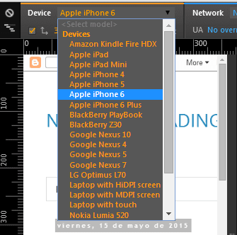Lista desplegable que muestra los distintos dispositivos moviles que emula Chrome