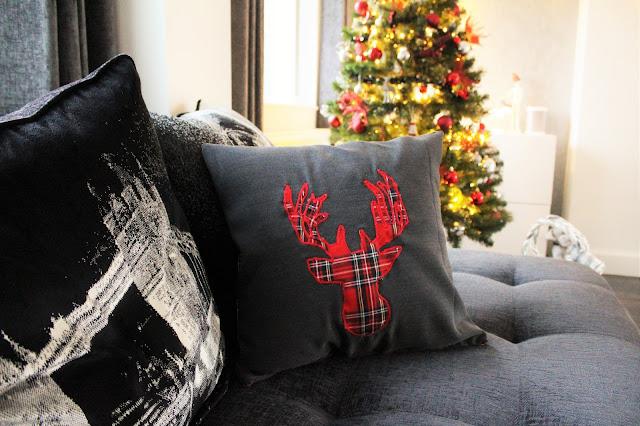 tartan stag cushion