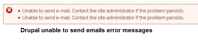 How to resolve Drupal unable to send email - contact the