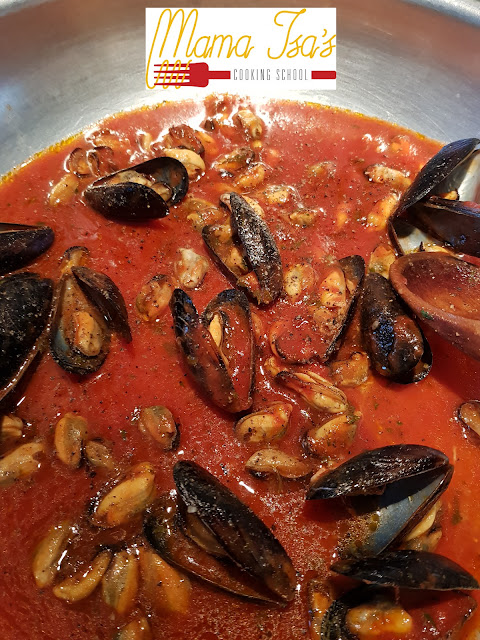 Mussels Marinara at Mama Isa's Cooking School Venice area Italy