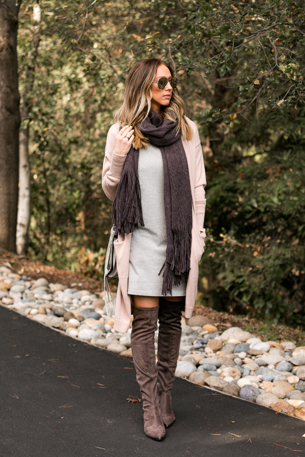 grey tee dress blush long cardigan grey over the knee boots