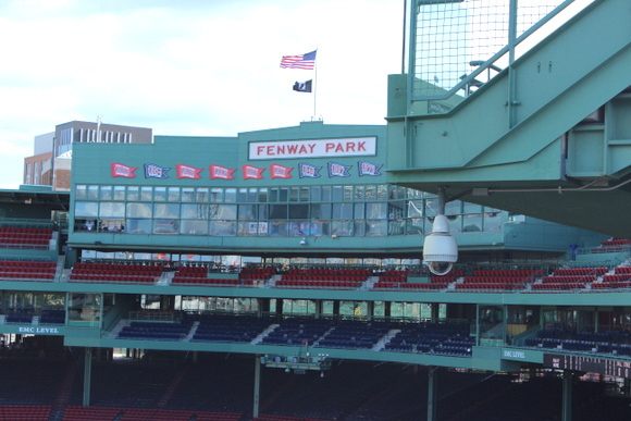 This view of Fenway Park shows off the blue and red stadium seats.