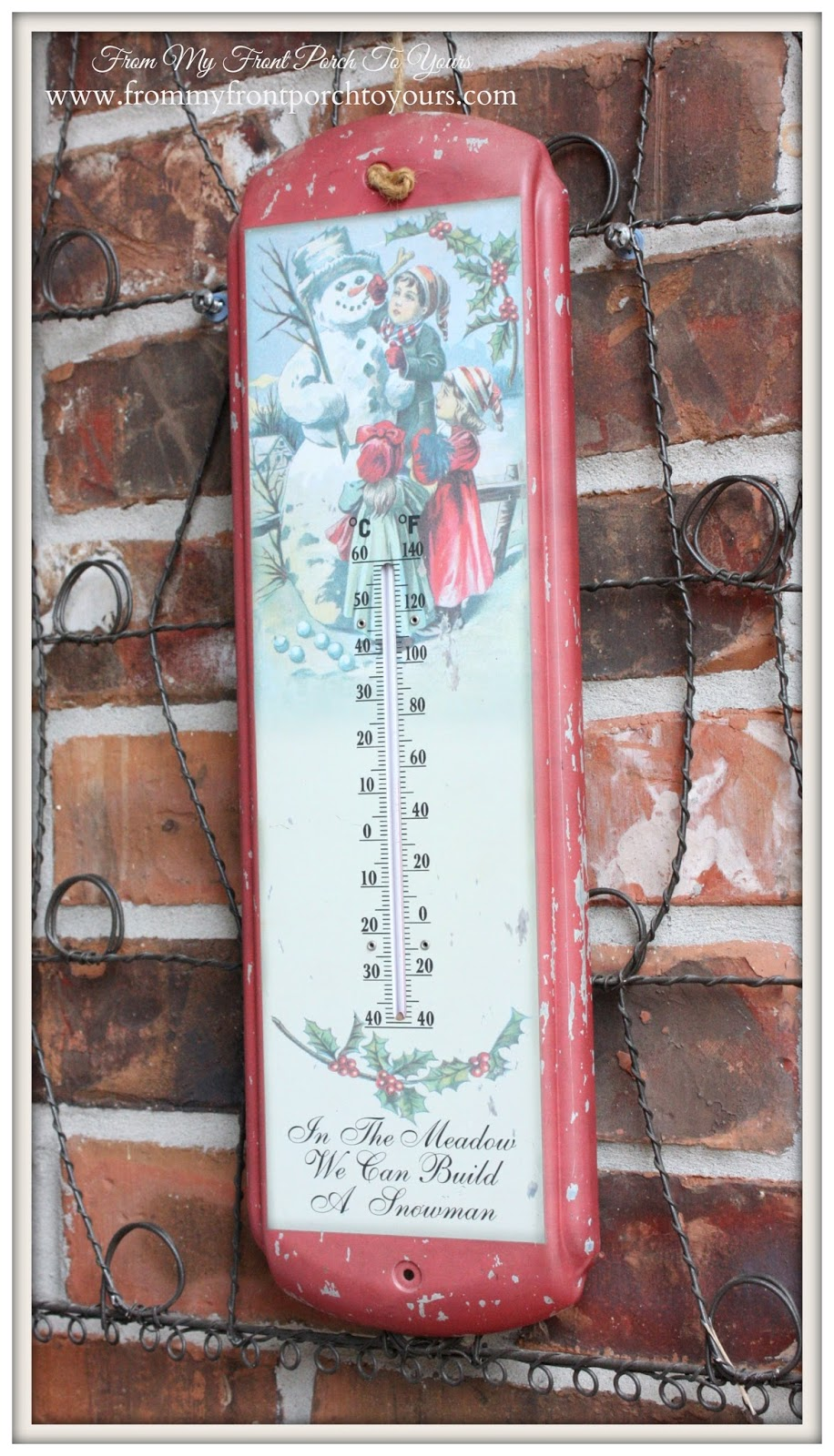 Vintage Thermometer-Simple Vintage Christmas Front Porch- From My Front Porch To Yours