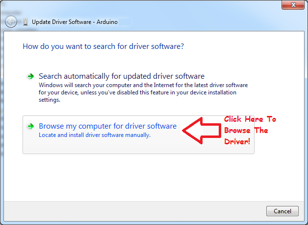 Click To Browse The Driver Location Manually
