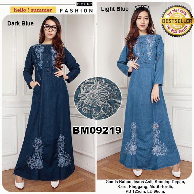 Bursa Grosir Busana Muslim Tanah Abang  BM09219 Gamis Bahan Jeans ... 7118a918fe