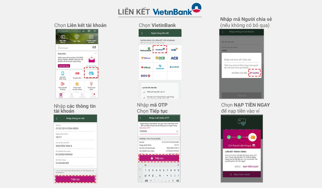 liên kết momo với VietinBank