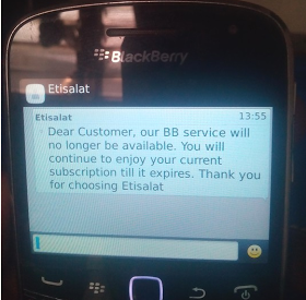 Etisalat Discontinues Blackberry Internet Service support