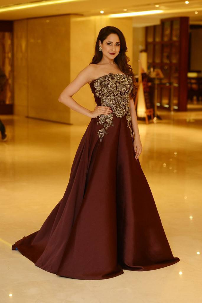 Actress Pragya Jaiswal Photos At SIIMA Awards 2017 In Maroon Gown