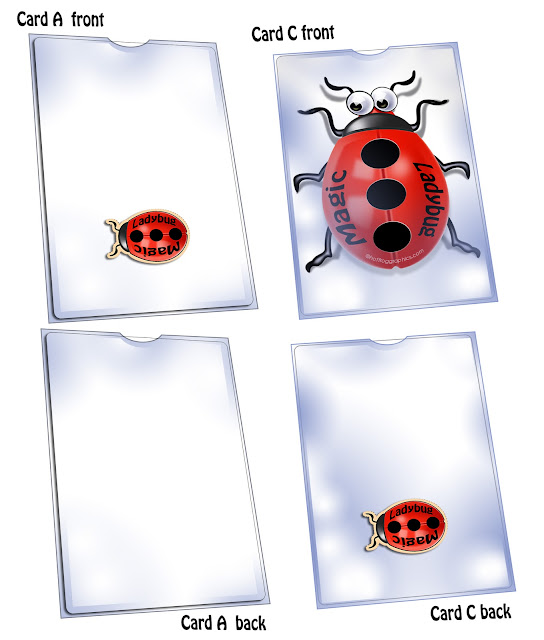 Magic ladybug card trick instruction graphic 1