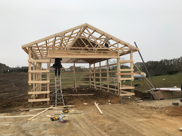 Woodward Acres: New Pole Building Framing