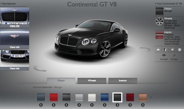 コンチネンタルGT V8 Sのビジュアライザー