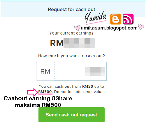 jana pendapatan online bersama 8share, cashout earning 8share maksimum rm500, gambar cash out earning 8share rm500, request for cash out 8share, you can cash out 8share from rm50 up to rm500