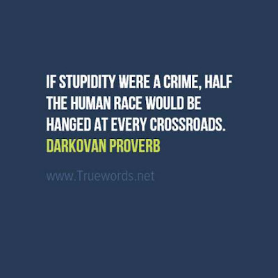 If stupidity were a crime, half the human race would be hanged at every crossroads