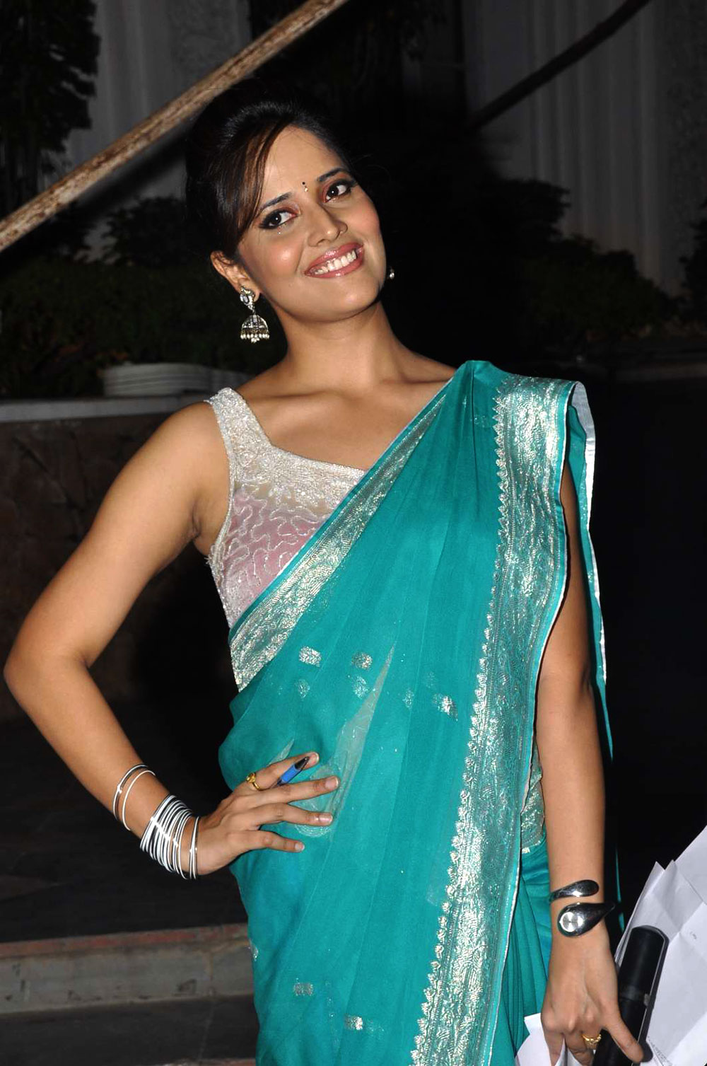 sparkling hot sexy lady Anchor anasuya in blue saree gorgeous photos at santhoor event