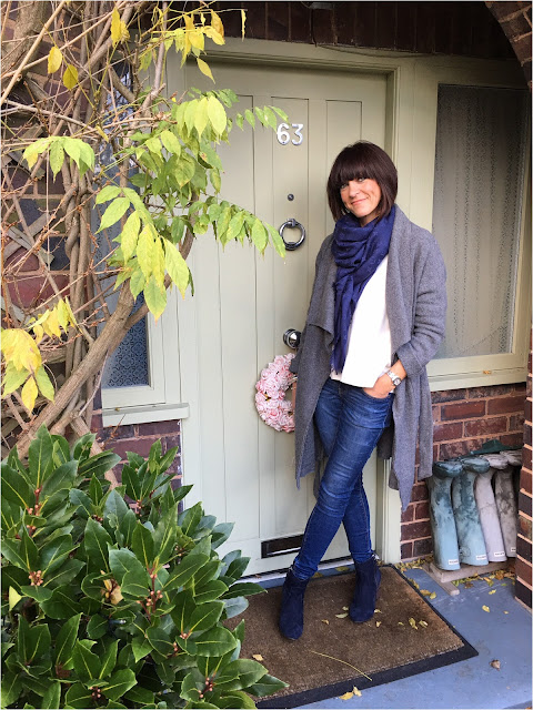 My Midlife Fashion, Zara Draped Wool Coat, Louis Vuitton Monogram Shawl, Massimo Dutti Knitted Jumper, Zara skinny jeans, Boden Boho Boots