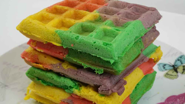 Gofres arcoiris-Recetas fáciles para niños