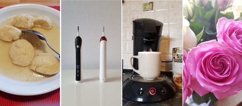 Grießnoggerlsuppe-elektrische Zahnbürsten-Kaffeemaschine und Rosen