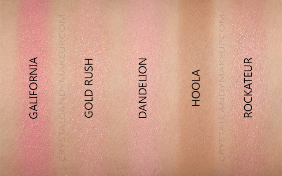 Benefit Blush Bar Palette Swatches Gold Rush Galifornia Hoola Dandelion Rockateur