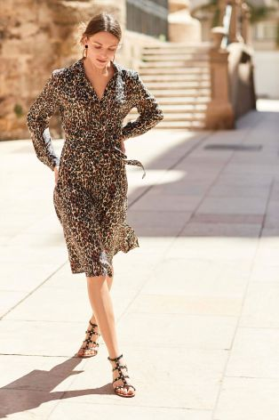 Next Animal Print Shirt dress