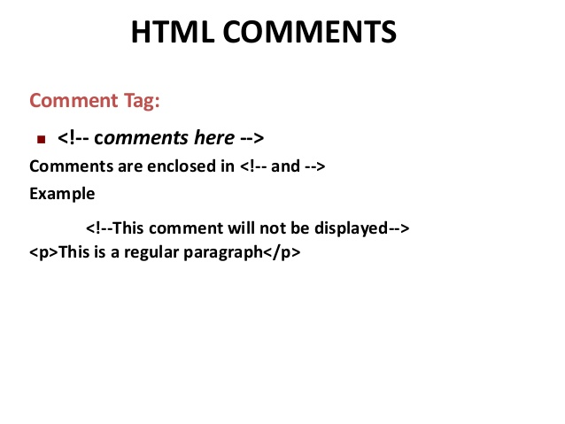 HTML Comments ~ W3Schools | Tutorialspoint | Ammu Tutorials