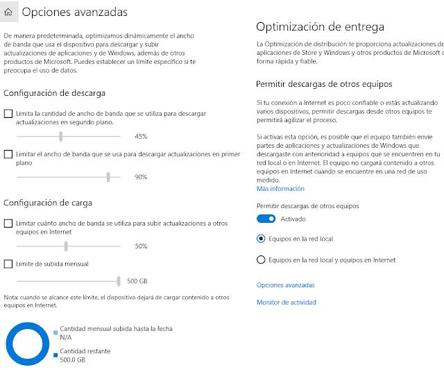 Opciones de compartición de descarga en Windows 10 imagen