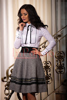 Fusta eleganta gri din lana cu fir argintiu • Venezia Artigiano Moda
