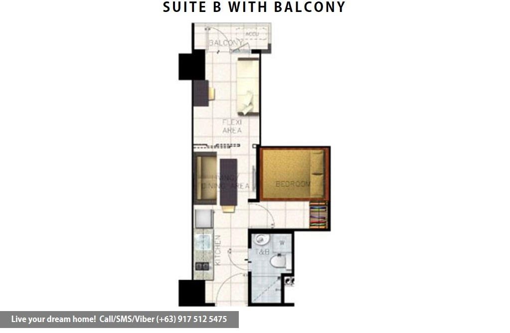 Floor Plan of SMDC S Residences - Family Suite B With Balcony | Condominium for Sale SM Mall of Asia Pasay