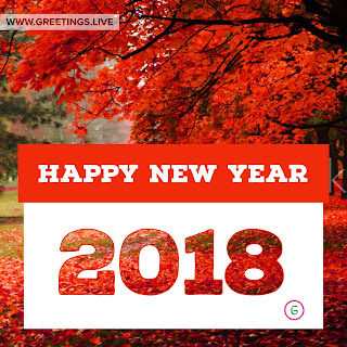 Cool reddish leafs tree Happy New year 2018 wishes in English