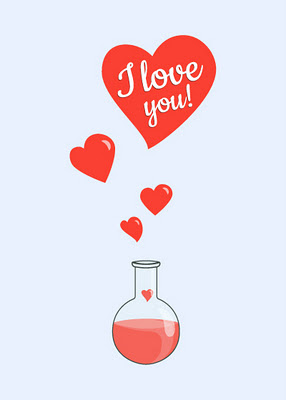 Flask of hearts geek Valentine's day card with red bubbling liquid