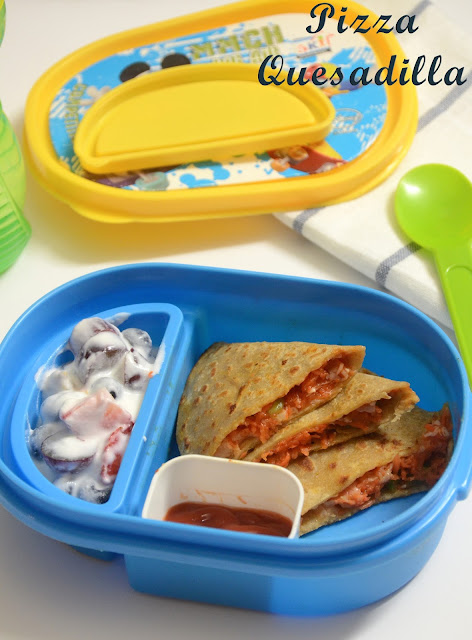 quesadilla / pizza paratha kids lunch box recipe