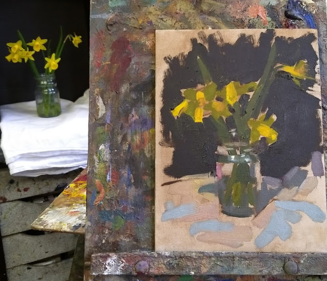Alla Prima Oil Painting Demonstration in class: Daffodils