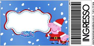 Tarjeta con forma de Ticket de Peppa Pig en Navidad.